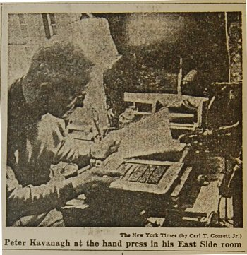 Kavanagh at his press, from Jan 17, 1960 <em>New York Times</em>