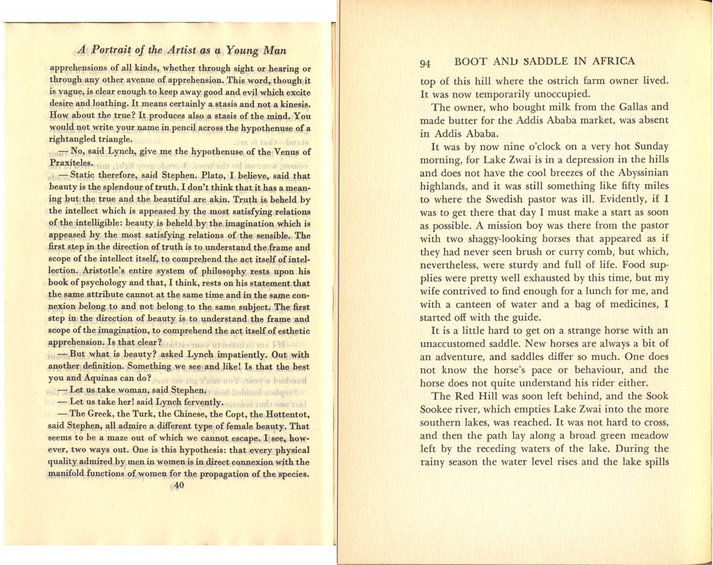 "Pages of ""Introducing James Joyce"" and ""Boot and Saddle in Africa"""