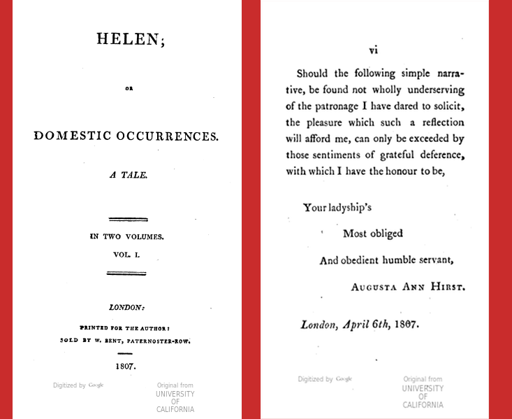 Title Page, and End of Dedication from *Helen*